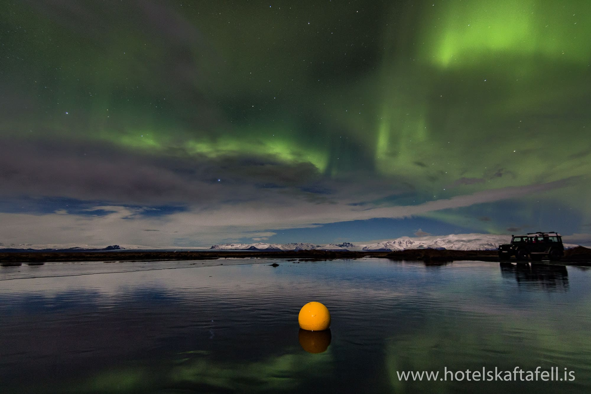 Photo of Northern Lights (Aurora borealis) taken from Hotel Skaftafell
